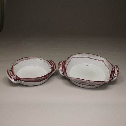 Open Casserole small and medium sizes, Smooth Design in White and Red Glaze