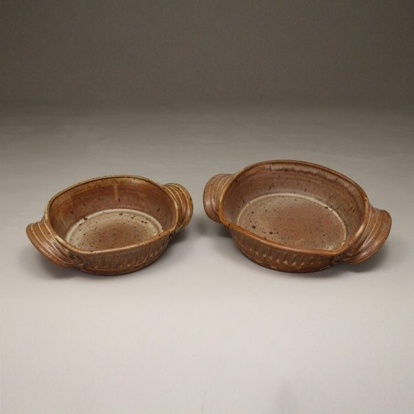 Open Casserole small and medium sizes, Fluted Design in Spodumene Glaze