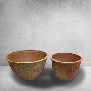Deep Bowls, Small and Medium Sizes, Fluted Design in Spodumene Glaze