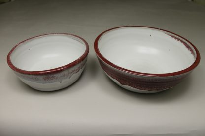 Low Bowls, Small and Regular Sizes, in Smooth Design White and Reg Glaze