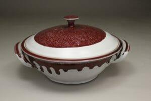 Medium Casserole Smooth Design in White and Red Glaze