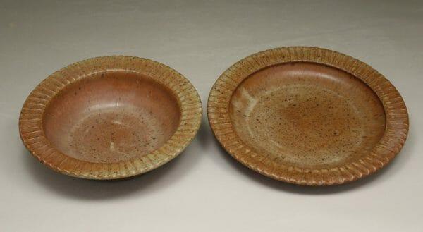 Salad Bowl and Pasta Bowl Fluted Design in Spodumene Glaze