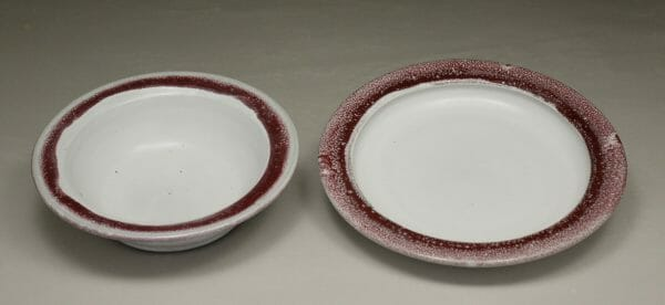 Salad Bowl or Pasta Bowl, Smooth Design, in White with Red Glaze