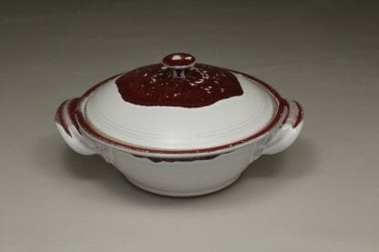 Small Casserole 2 with Lid Smooth Design in White and Red Glaze