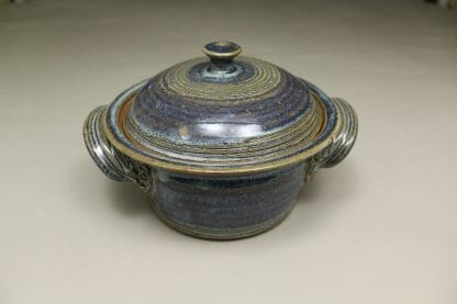 Small Casserole 3 Smooth Design in Rutile Blue Glaze
