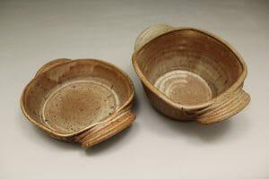 Small Open Casserole or Small Deep Open Casserole Fluted Design in Spodumene Glaze