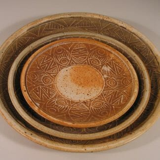 Slip Design Large Platter shown with Small Platter and Dinner Plate