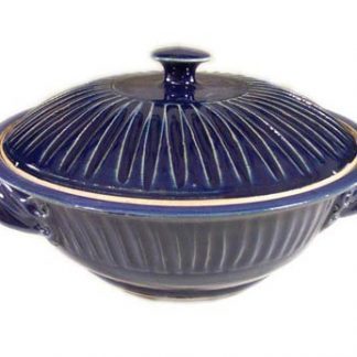 Casserole with Lid, Large, Fluted Design in Dark Blue Glaze