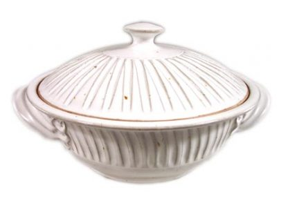 Large Casserole with Lid, Fluted Design in White Glaze