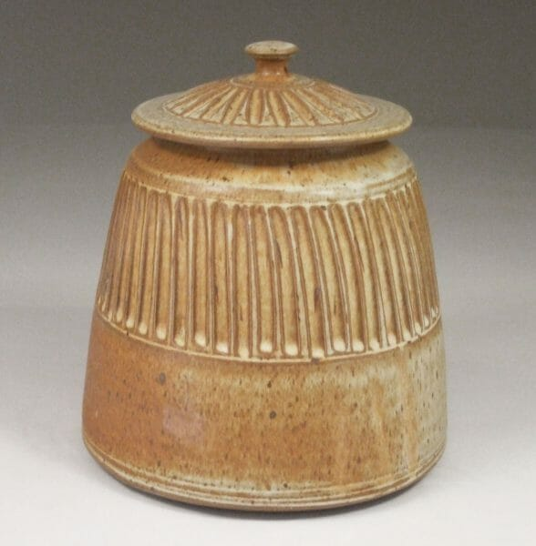 Cookie Jar Fluted Design in Spodumene Glaze