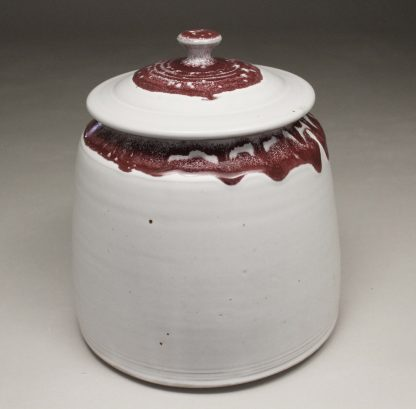 Cookie Jar Smooth Design in White and Red Glaze