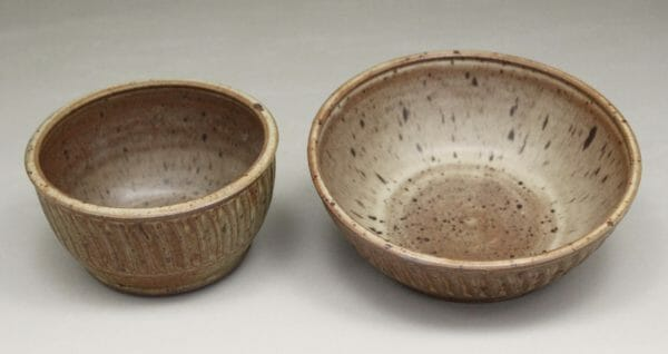Cereal Bowl or Serving Bowl Fluted Design in Spodumene Glaze