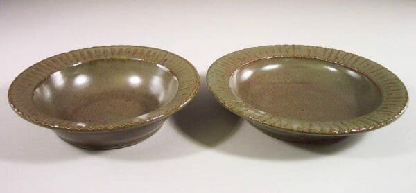 Salad Bowl or Pasta Bowl Fluted Design in Green Glaze