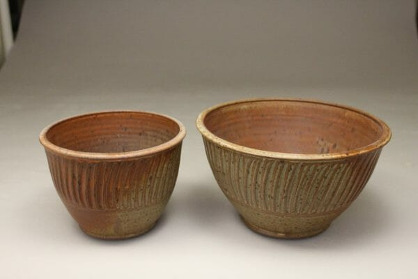 Small or Medium Deep Bowl Fluted Design in Spodumene Glaze