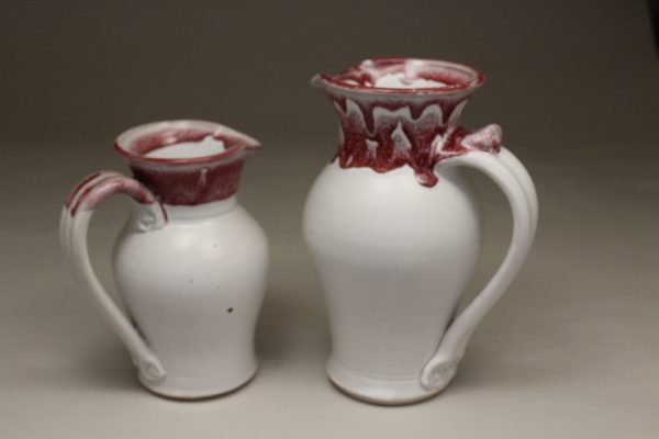 Small or Large Pitcher Smooth Design in White and Red Glaze