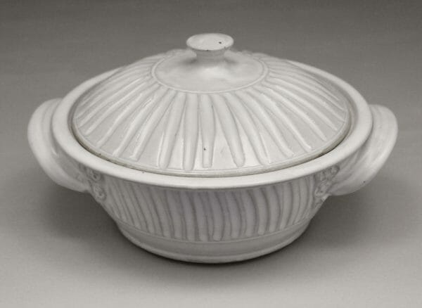 Small Casserole 2 with Lid Fluted Design in White Glaze