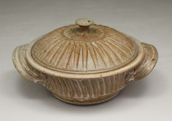 Small Casserole 2 with Lid Fluted Design in Spodumene Glaze