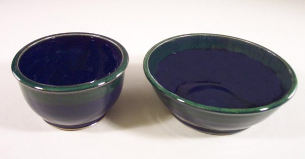 Cereal Bowl or Salad Bowl Smooth Design in Dark Blue and Green Glaze