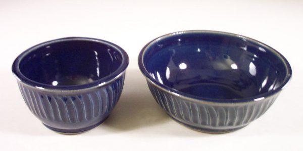Cereal Bowl or Salad Bowl Fluted Design in Dark Blue Glaze