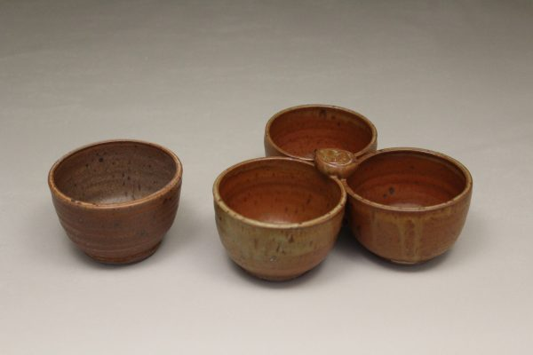 Individual Condiment Bowl or 3-pc Tray Condiment Bowls Smooth Design in Spodumene Glaze