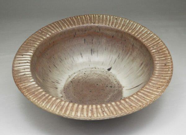 Large Pasta Bowl Fluted Design in Spodumene Glaze