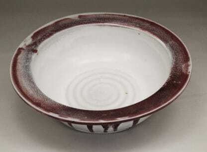 Large Pasta Bowl Smooth Design in White and Red Glaze