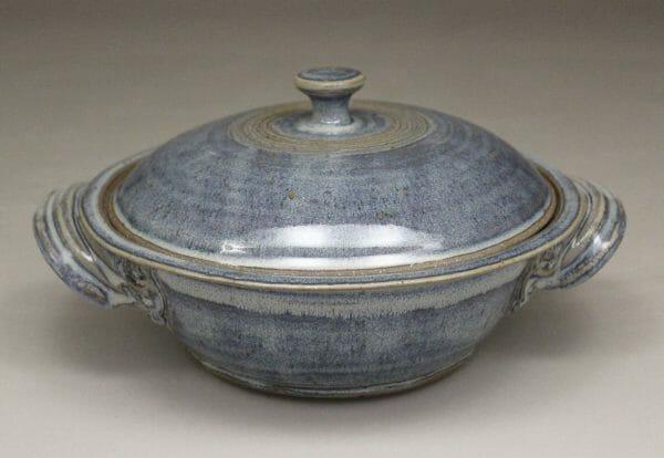 Medium Casserole with Lid Smooth Design in Rutile Blue Glaze