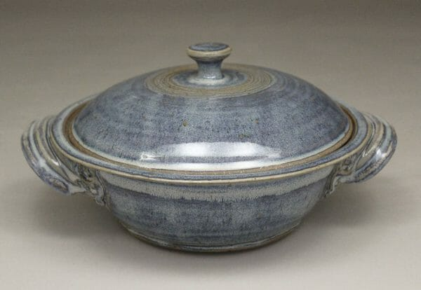 Medium Casserole with Lid Smooth Design in Rutile Blue Glaze