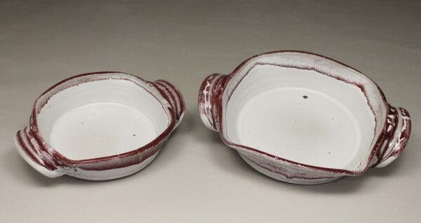 Small Open Casserole or Medium Open Casserole Smooth Design in White and Red Glaze