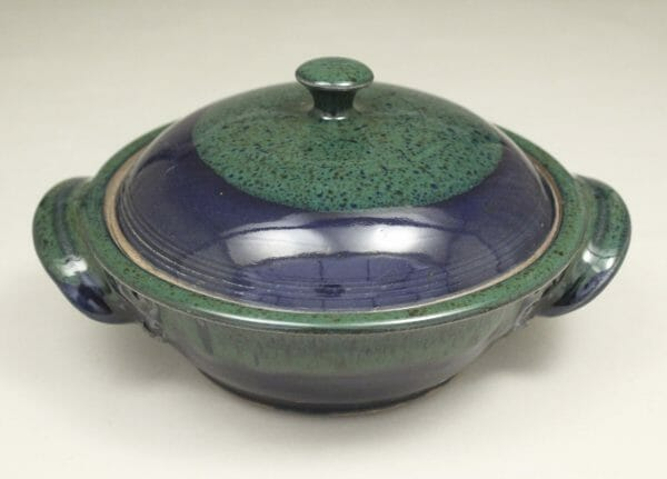 Small Casserole 2 with Lid Fluted Design in Dark Blue and Green Glaze