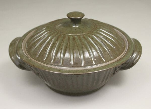 Small Casserole 2 with Lid Fluted Design in Green Glaze