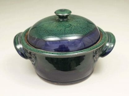 Small Casserole 3 with Lid Smooth Design in Dark Blue and Green Glaze