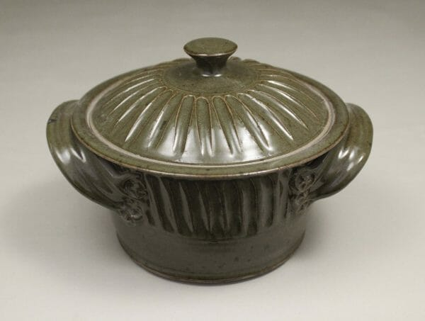 Small Casserole 3 with Lid Fluted Design in Green Glaze