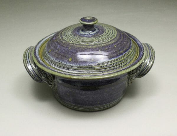 Small Casserole 3 with Lid Smooth Design in Rutile Blue Glaze