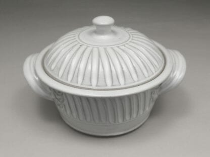 Small Casserole 3 with Lid Fluted Design in White Glaze