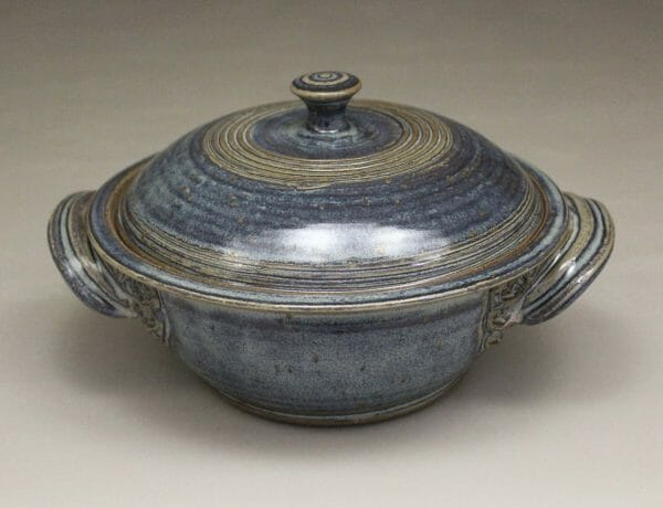 Small Casserole 2 with Lid Smooth Design in Rutile Blue Glaze