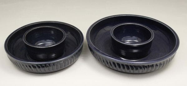 Small or Large Chip and Dip Fluted Design in Dark Blue Glaze