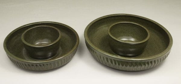Small or Large Chip and Dip Fluted Design in Green Glaze