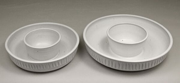 Small or Large Chip and Dip Fluted Design in White Glaze