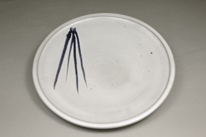 Small Platter Smooth Design in White Glaze with Dark Blue Stripes