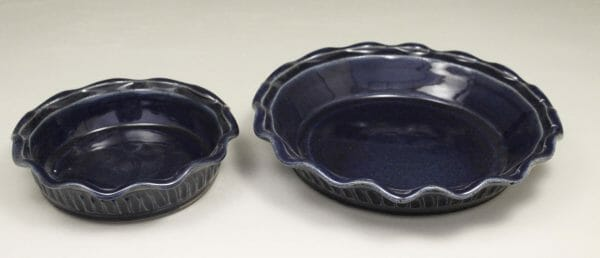 Small Pie Plate or Large Pie Plate Fluted Design in Dark Blue Glaze