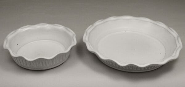 Small Pie Plate or Large Pie Plate Fluted Design in White Glaze