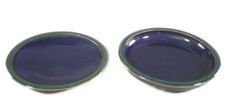 Small Dinner Plate and Salad Plate Smooth Design in Dark Blue and Green Glaze