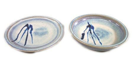 Small Dinner Plate and Salad Plate Smooth Design in Rutile Blue Glaze with Dark Blue Stripes