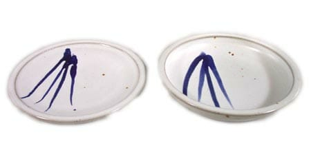 Small Dinner Plate or Salad Plate Smooth Design in White Glaze with Dark Blue Stripe
