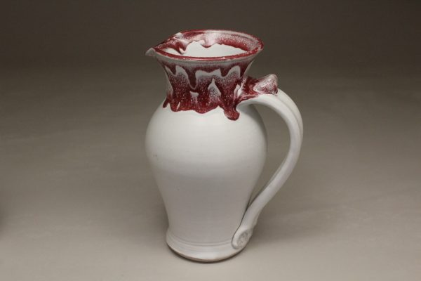 Large Pitcher Smooth Design in White and Red Glaze